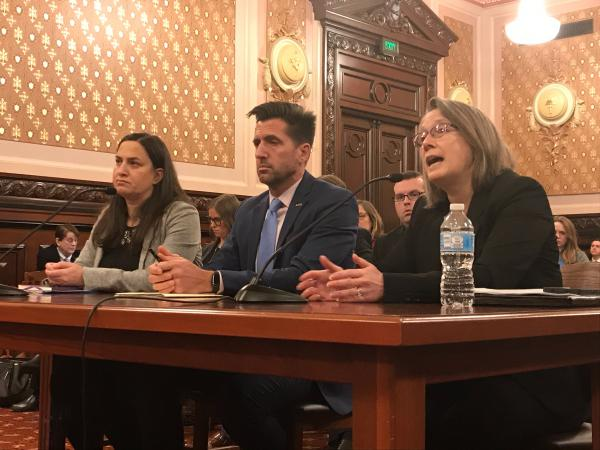 Kristine Herman of the Illinois Department of Healthcare and Family Services speaking at a committee hearing Tuesday morning alongside (from left to right) DCFS' Jamie Dornfeld and Jassen Strokosch.