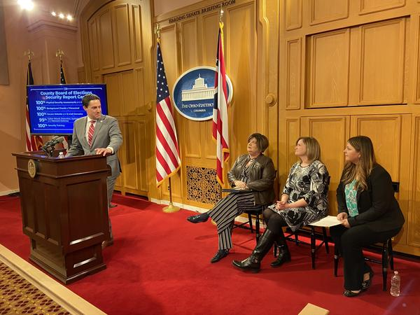 Secretary of State Frank LaRose and board of elections officials at his press event: Deputy Director Shantiel Soeder of the Cuyahoga County BOE (right), Director Laura Bruns of the Miami County BOE and Director Michelle Wilcox of Auglaize County BOE.