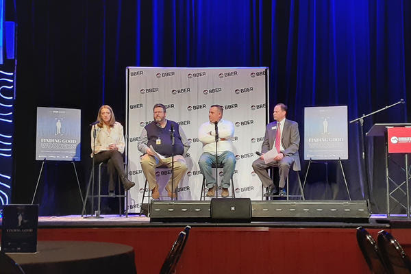 A panel at the BBER Economic Outlook seminar in Bozeman discusses challenges and opportunities to attract more skilled labor, February 5, 2020.