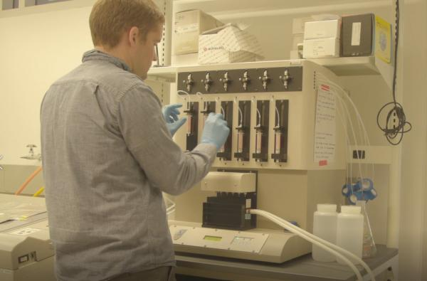 A researcher at the Duke University laboratory that tested samples from water filters in central and southeastern North Carolina.