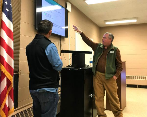 EPA Region 8 toxicologist Charlie Partridge (R) told Butte's Board of Health during a Feb. 5, 2020 meeting that the federal agency does not think the results of a study on metals in baby poop show a public health emergency in Butte.