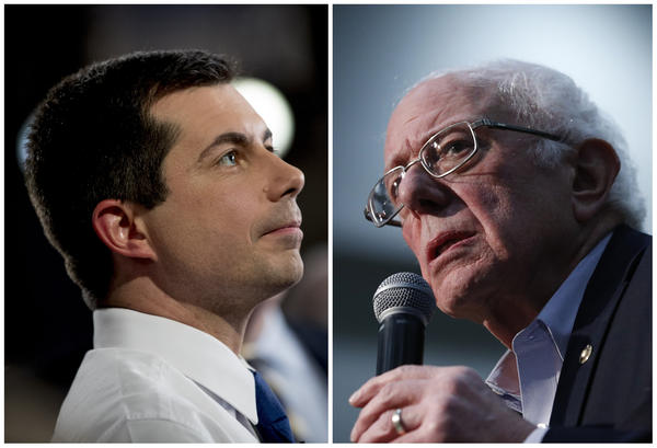 Former South Bend, Ind., Mayor Pete Buttigieg (left) and Vermont Sen. Bernie Sanders in Iowa. After a year of intense campaigning, they finished in a virtual tie in the Iowa caucuses.