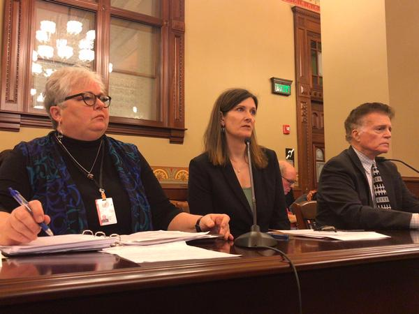 Former Legislative Inspector General Julie Porter, center, testifying at an ethics comittee hearing alongside current LIG Carol Pope, left, and former LIG Tom Homer, right.