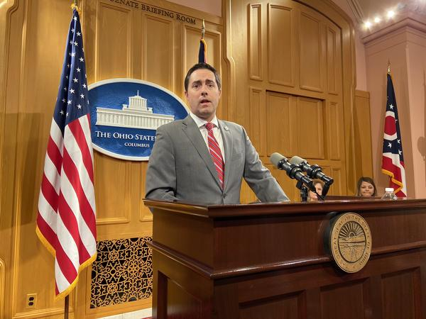 Secretary of State Frank LaRose speaks at an event outlining election security efforts his office has ordered.
