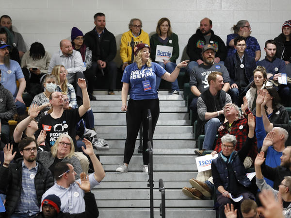 Precinct captain Emily Duff, center, counts supporters for Democratic presidential candidate Sen. Bernie Sanders, I-Vt., during a Democratic party caucus at Hoover High School, Monday in Des Moines, Iowa.