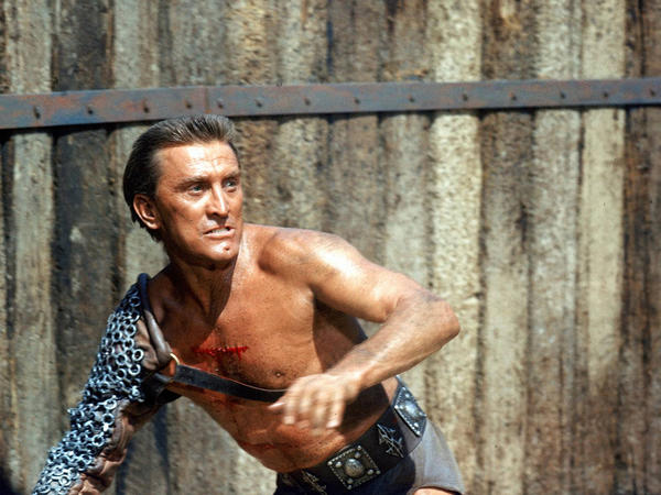 Kirk Douglas as Spartacus in the movie that won four Oscars.