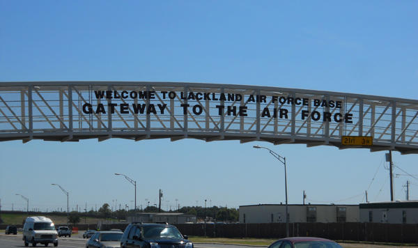 The entrance to Lackland Air Force Base