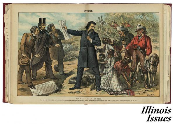 In this 1859 illustration, John A. Logan, center, holds a paper that states 'No Interference with Slave-Hunters!' He would later be a Union Army general.