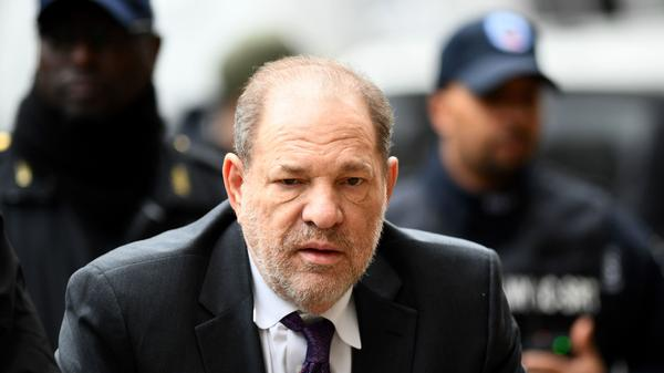 Harvey Weinstein arrives at the Manhattan Criminal Court on Monday, during the defense portion of his rape trial. Six women took the stand to say they were sexually assaulted by Weinstein — then Weinstein's legal team got the opportunity to have its say.