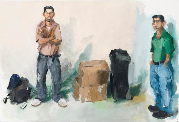 Years ago, John Sonsini began approaching men in Los Angeles who were looking for work — and offering them modeling jobs. The results are on view in a show called <em>Cowboy Stories & New Paintings. </em>Above,<em> Saul & Lorenzo,</em> 2008.