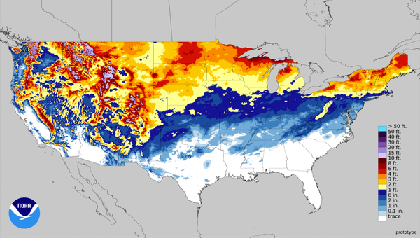 Snowfall as of January 15.