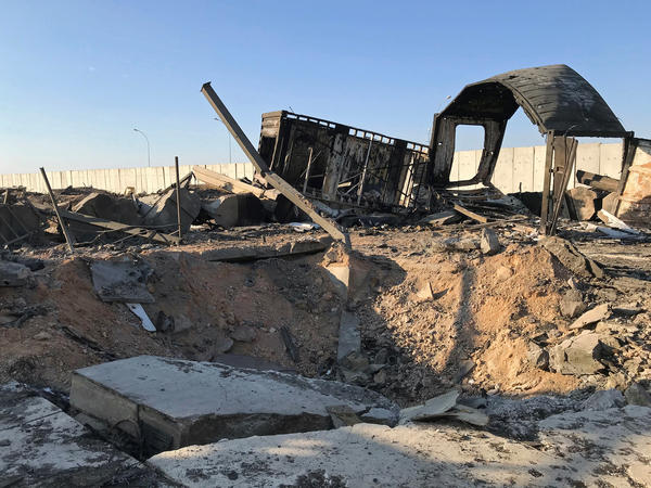 Debris and rubble are seen at the site where an Iranian missile struck Ain al-Asad air base in Iraq's Anbar province in January. The U.S. has repeatedly raised its injury report from the strike; it now says 109 personnel suffered brain injuries.