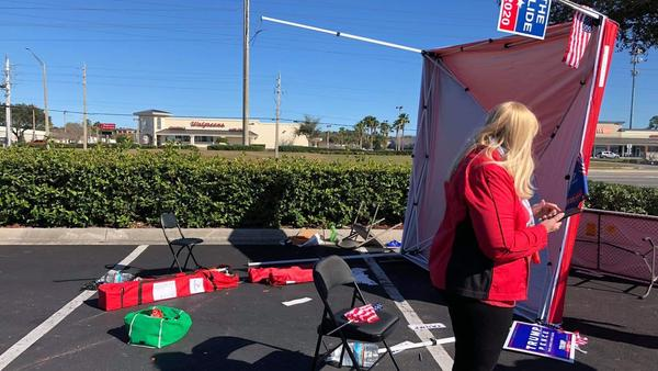 This photo from the Duval County GOP shows some of the damage Saturday after a man drove his van through a campaign tent.