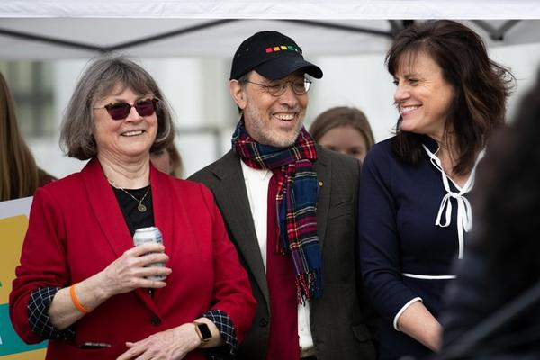 <p>Oregon Sens. Michael Dembrow (center), D-Portland, Kathleen Taylor (right), D-Milwaukie, and Senate Majority Leader Ginny Burdick, D-Portland, attend the climate rally at the Capitol in Salem, Feb. 11, 2020.</p>