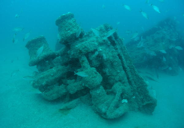 A shipwreck found 35 miles off St. Augustine, Fla., has been identified as the SS Cotopaxi that disappeared in 1925. The windlass, seen detached from the ship's bow, helped lower and raise the anchor.