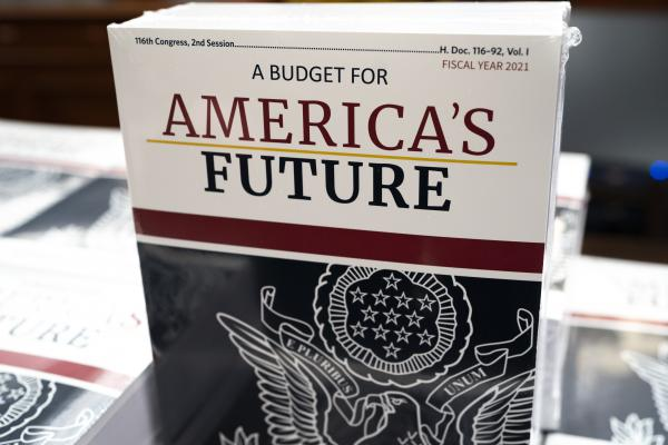 President Donald Trump's budget request for fiscal year 2021 arrives at the House Budget Committee on Capitol Hill in Washington on Monday, Feb. 10, 2020.