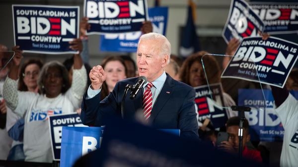 Democratic presidential candidate and former Vice President Joe Biden addresses supporters Tuesday night in Columbia, S.C. Biden skipped a primary night event in New Hampshire, expecting a poor showing.