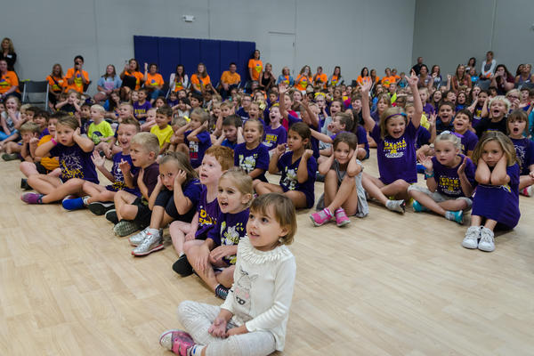 Students cheer during a ribbon-cutting ceremony for Rockwood School District's new Eureka Elementary School in August.
