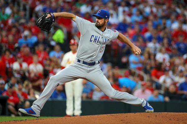 Chicago Cubs starting pitcher Cole Hamels delivers during the first inning of a baseball game against the St. Louis Cardinals, Saturday, Sept. 28, 2019, in St. Louis.