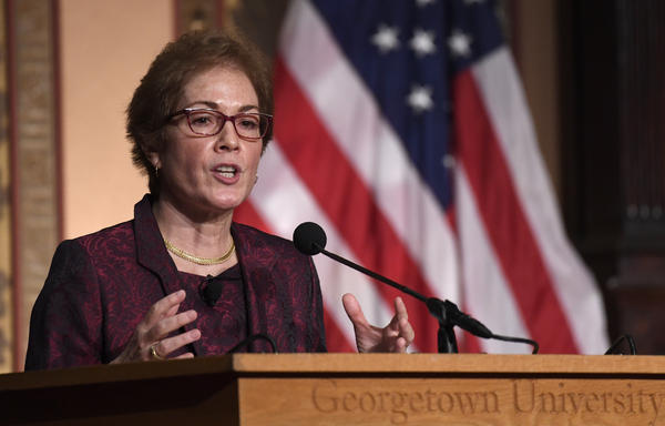 Former U.S. Ambassador to Ukraine Marie Yovanovitch speaks Wednesday at Georgetown University, where she received the Trainor Award for excellence in diplomacy.