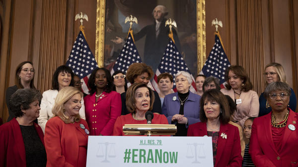 House Speaker Nancy Pelosi, D-Calif., speaks Wednesday at a press conference ahead of the House's vote to remove the ratification deadline for the Equal Rights Amendment.