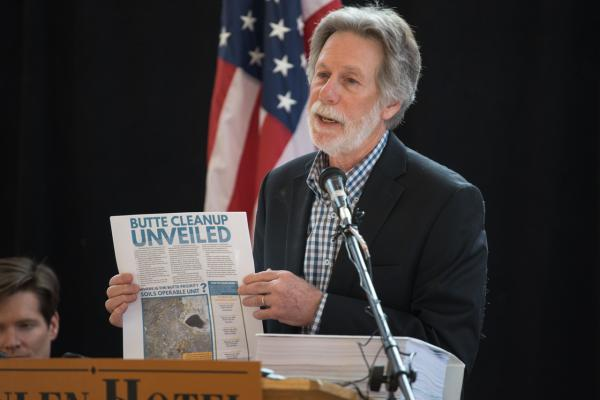 Butte Superfund Coordinator Jon Sesso speaks during the event unveiling EPA's final cleanup plan for Butte, Feb. 13, 2020.