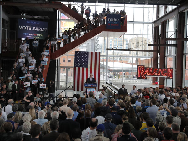 Democratic presidential candidate and former New York City Mayor Mike Bloomberg speaks at a campaign event in Raleigh, N.C., Thursday.