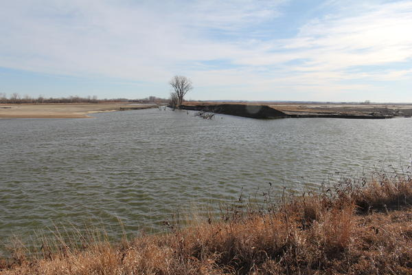 Adams said the 45-foot deep body of water formed after the Missouri River overtopped onto his property last March.