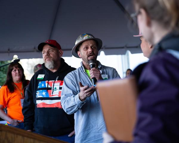 Timber Unity founder Jeff Leavy speaks at a Timber Unity rally at the Capitol in Salem, Ore., Thursday, Feb. 8, 2020. The group is opposing cap-and-trade legislation aimed at reducing greenhouse gas emissions.