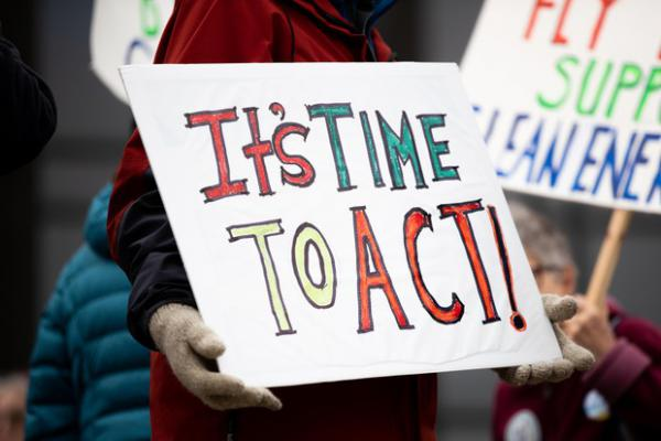 <p>People gather on the steps of the Oregon Capitol in Salem for a rally for climate action on Feb. 11, 2020.</p>