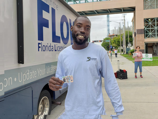 Michael Harris gets his license reinstated for the first time in five years at Operation Green Light 2019 in West Palm Beach.