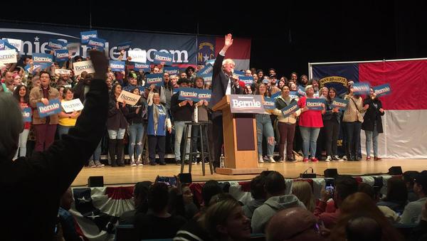 Bernie Sanders greets the crowd at Belk Theater in Charlotte.