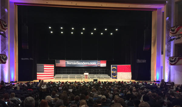 The stage at Belk Theater waits for Bernie Sanders to speak.