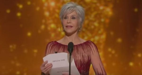 Jane Fonda, 82, announced the Best Picture winner at the Oscars ceremony on Feb. 9, 2020. Fonda wore a dress she'd worn to a previous Oscars after making a pledge that she will purchase no more new clothes.