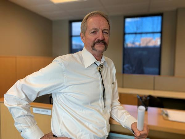 Acting BLM Director William Perry Pendley stands in the mostly empty suite of offices at the agency's new planned headquarters in Grand Junction, Colo.
