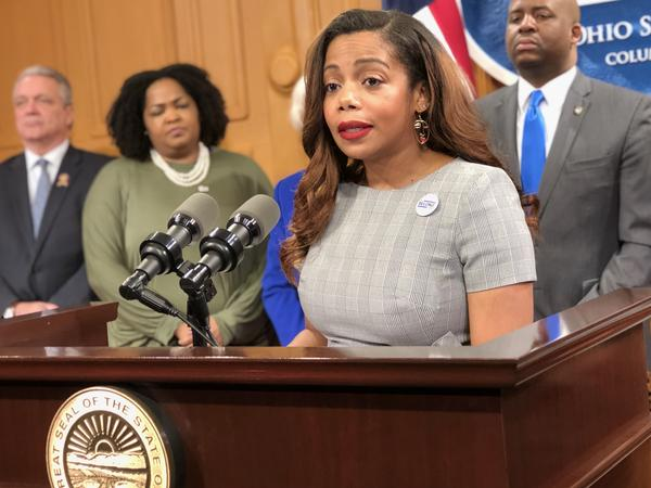 Rep. Erica Crawley (D-Columbus) discusses her bill to create an anonymous hotline to report possible wage discrimination.