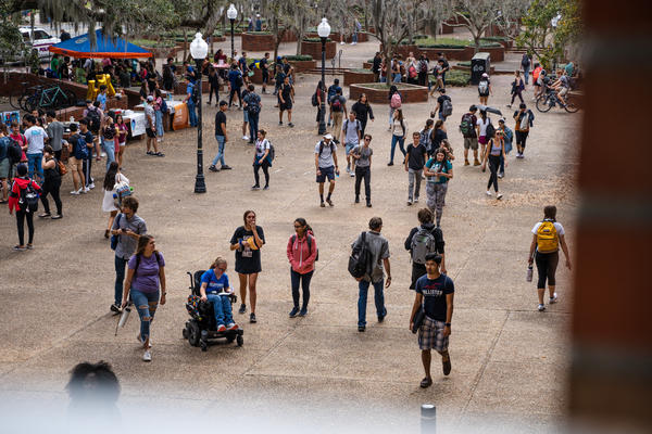 University of Florida students walk through Turlington Plaza in between classes on Thursday afternoon, February 13, 2020, in Gainesville, Fla.