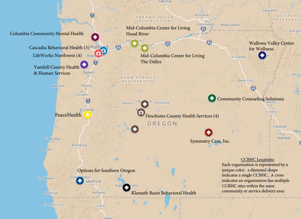 Oregon Health Authority map showing the locations of Certified Community Behavioral Health Clinic pilot projects.