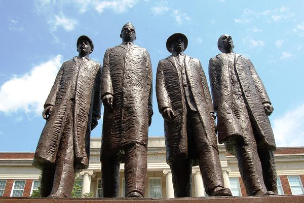 A monument to David Richmond, Franklin McCain, Jibreel Khazan and Joseph McNeil, the four college freshmen who carried out the sit-in at the Woolworth's in Greensboro