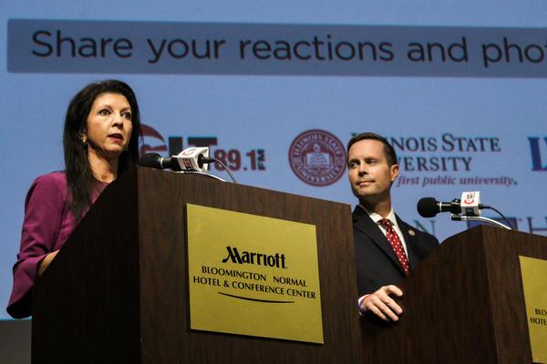 Democrat Betsy Dirksen Londrigan and U.S. Rep. Rodney Davis at a WGLT debate on Oct. 29, 2018, at the Normal Theater.