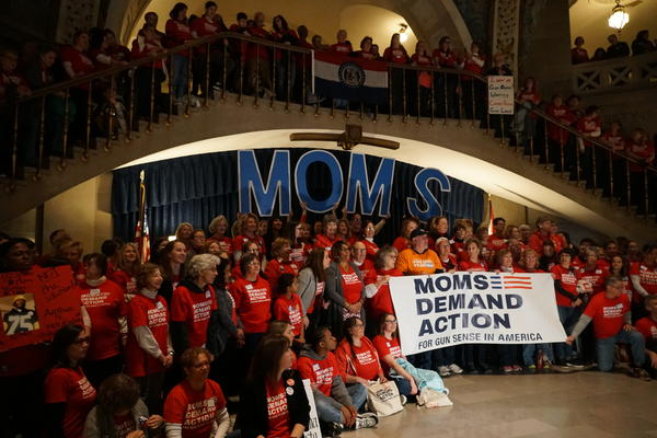 Hundreds rally at the Missouri Statehouse for stricter gun control.