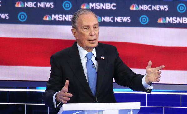 Former New York City Mayor Michael Bloomberg speaks during the Democratic presidential debate in Las Vegas on Wednesday night.