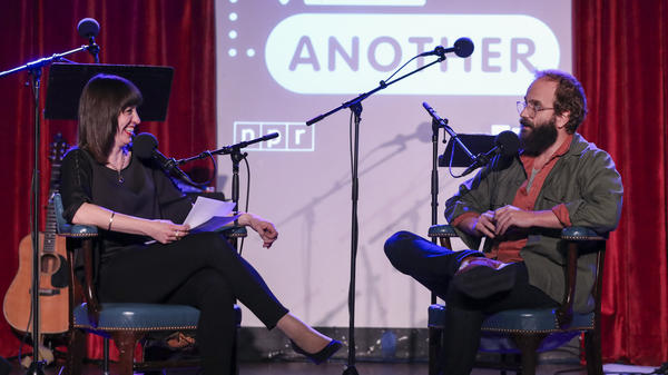 Ben Sinclair plays a game with Ophira Eisenberg on <em>Ask Me Another</em> at the Bell House in Brooklyn, New York.