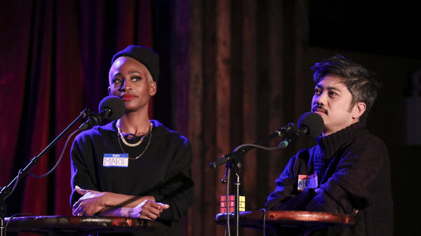 Marie Faustin and Manolo Moreno go head-to-head in<em> Ask Me Another</em>'s final round at the Bell House in Brooklyn, New York.