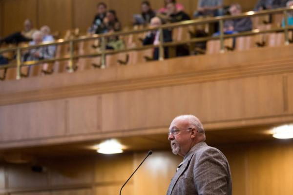 <p>State Rep. Lynn Findley, R-Vale, introduces legislation on the House floor as the public gallery looks on at the Capitol in Salem, Ore., Tuesday, April 2, 2019.</p>