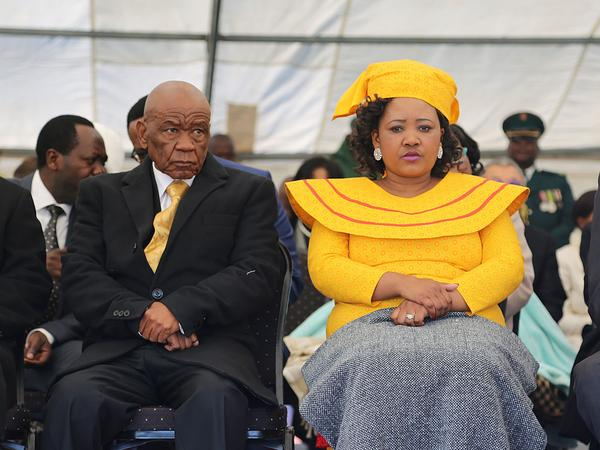 Lesotho Prime Minister Thomas Thabane and his current wife, Maesaiah Thabane, attend his inauguration in 2017. Both are suspects in the killing of the prime minister's previous wife, Lipolelo, shortly before the inauguration.