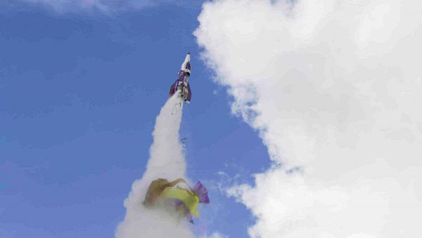 """Mad"" Mike Hughes' rocket takes off with what appears to be a parachute tearing off during its launch near Barstow, Calif. Hughes was killed when the rocket crashed Saturday."