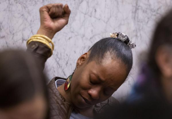 <p>Demetria Hester reacts&nbsp;to verdicts of guilty on all twelve counts at the Jeremy Christian trial, Feb. 21, 2020.</p>