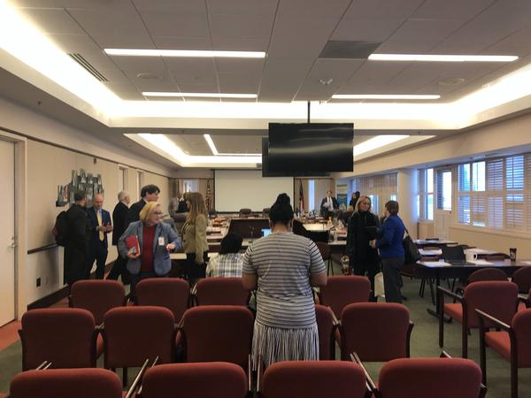 The January 2020 State Board of Education meeting room empties out as the board goes into closed session.