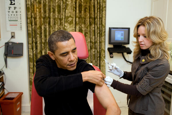 During the H1N1 swine flu pandemic, President Barack Obama was vaccinated by a White House nurse. It took a little more than five months from the discovery of the virus to develop a vaccine.
